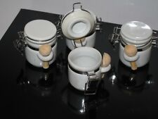 Set of 4 Kitchen Food Storage Canister Coffee Sugar or Spice Container Tea Jar