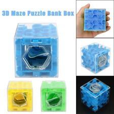 3PCS 3D Cube Puzzle Money Maze Saving Coin Collection Case Box Fun Brain Game