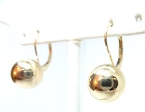 14kt Yellow Gold 10MM Ball Leverback Earrings w/Gift Box FREE SHIPPING!