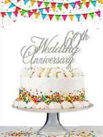 60th 25 50 Wedding Anniversary Custom Glitter Cake Topper Any Year Personalised