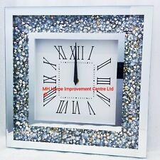 Sparkly Square Wall Clock Diamond Crush Crystal Silver Mirrored Glitz Medium