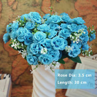 Blue Beauty Mini Rose 15 Buds 1 Bouquet Home Decor Artificial Silk Flower #G9S