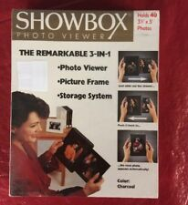 """Showbox Photo Viewer Holds 40 3.5"""" x 5"""" Photos Charcoal Slide-out Drawer"""