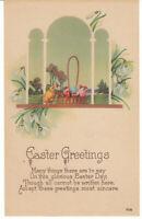Vintage Postcard Easter Chick Easter Basket of Eggs Art Deco Unused 1920s