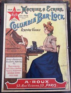 MACHINE A ÉCRIRE. Sous-main Avec 2 Affichettes Publicitaires. Vers 1900.