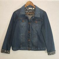 Chico's Platinum Denim Blue Jean Jacket Animal Print Cuff Size 1 US Sz. 8 Med