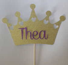 Personalised Birthday Crown Princess topper Glitter card cake decoration