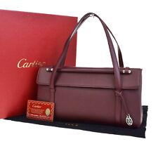 Auth Must De Cartier 2C Charm Cabochon Flap Hand Bag Leather Bordeaux 89Q577