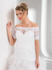Womens Bridal Ivory / White Lace Over-top Bolero Shrug Wedding Jacket 8/10/12/14