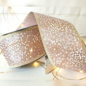 Wired blush Pink Rose Gold & White Glitter Dots Speckled Christmas Ribbon Tree