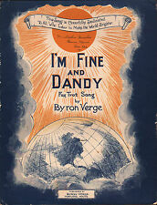 PORTLAND, MAINE published song I'M FINE AND DANDY fox trot BYRON VERGE 1922