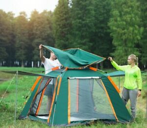 Camping Tent Fully Automatic Quick Setup Large 4 Person Tent with Mosquito Net