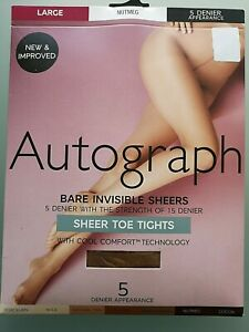 M&S AUTOGRAPH SIZE LARGE NUTMEG BARE INVISIBLE SHEERS SHEER TOE 5 DENIER TIGHTS