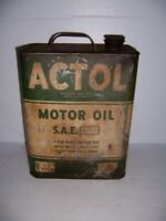 Vintage Actol Motor Oil 8 Quart 2 Gallon Can Gas Station Advertising