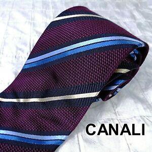 CANALI Italy Men's Luxury Plum Silk Cotton Grenadine Neck Tie Blue Tan Stripes