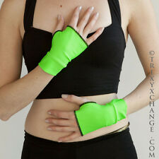Mens Costume Gloves Shiny Neon Green Short Arm Cuff Wetlook Latex Cyber Goth O10