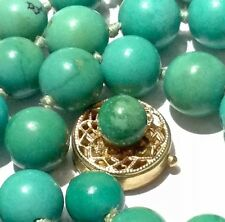 natural untreated turquoise round beads Post Art Deco 14k gold necklace