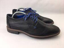 Franco Fortini Men Black Blue Laces Plain Toe Oxford Vincent 325058 Dress Shoe 8