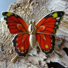 vintage multi colour orange black enamel butterfly bug brooch -R249
