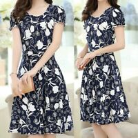 Women Elegant Fashion O-Neck Knee Length Dress Short Sleeve Retro Printing Dress