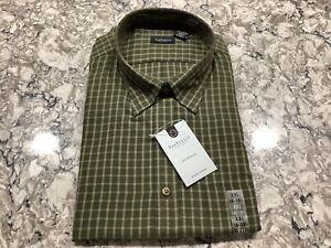 Vanheusen Olive Green Plaid Design Long Sleeve Dress Shirt Size XXL 18-18 1/2