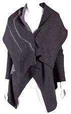 ME FU by NORIEM Gray Wool Asymmetrical Patterned Draped Cloak Sweater L