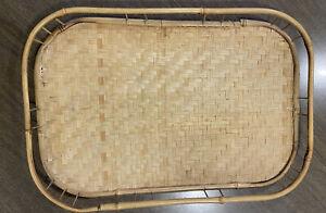 Vintage rattan bamboo boho serving tray