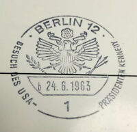JFK and Willy Brandt '63 KENNEDY VISIT SPECIAL POSTMARK RARE 06/26/63 B2G1F 459