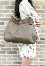 Coach Tote Shoulder Bag Lexy Signatured Coated Canvas Brown