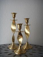 Vintage 1970s Set of 3 Curly Flame BRASS Candle Holder Candlestick Modern India