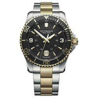 Victorinox Swiss Army Men's Watch Maverick Black Dial Two Tone Bracelet 249125