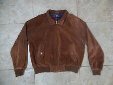VTG Polo By Ralph Lauren Flannel Lined Suede Leather Bomber Brown Jacket XL