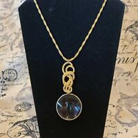 ACCESSOCRAFT NYC Gold Tone Twisted Rope Necklace Magnifying Lens Pendant