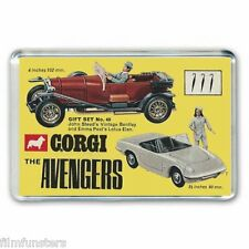 CORGI - THE AVENGERS - STEED & Emma Peels cars - JUMBO Fridge Magnet