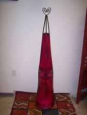 Moroccan Lamp Leather Henna Lantern Goat Lamb Skin Wrought Iron Light Fixture