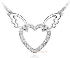 18k White Gold Plated Made with Swarovski Crystal Angle Wing Party Necklace N219