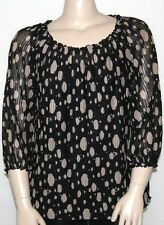 NEW INC International Concepts PLUS 1X Printed Sheer Mesh Blouse w/ Attached Cam