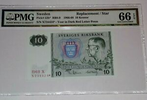 PMG SWEDEN Sveriges 10 KRONOR 1966-68 Pick# 52b* REPLACEMENT STAR GEM UNC 66EPQ