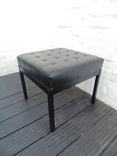 RETRO BLACK METAL AND LEATHERETTE FOOT STOOL SEAT *FREE DELIVERY VINTAGE