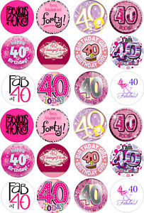 24 40th Birthday Female Cupcake Toppers Rice Wafer Paper Edible