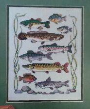 Cross Stitch Pattern Sampling Of Fish Nine Colorful Fish Blue Green Yellow Gray