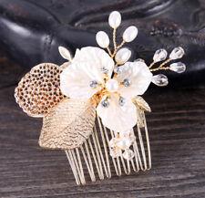 NEU Haarkamm Blumen Blüte Perle Zirkonia Haarschmuck Braut Hochtzeit Gold
