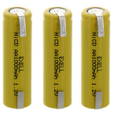 3x Exell AA 1.2V 1000mAh NiCD Rechargeable Batteries with Tabs FAST USA SHIP