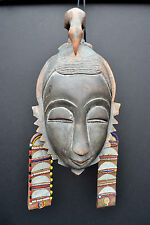 Yaoure, Ivory Coast mask with beads from Kenya (#512)