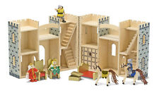 Grey Childs Toy Wooden Castle Figures Horses Furniture - Melissa & Doug - NEW