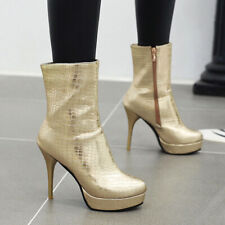 Platform Ankle Boots For Women Round Toe Zip High Heel Winter Booties US 6 Gold