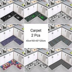 2 Pcs Non-Slip Rug Door Mat Carpet Floor Kitchen Doormat Water Absorption Cushio