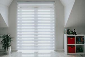 Premium White Day & Night Cassette Zebra Window Roller Blind 167cm x 160cm
