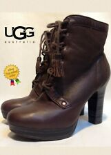 UGG High Heel Ankle Boots UK3.5 US5 EU36 *WORN ONCE* Brown Leather