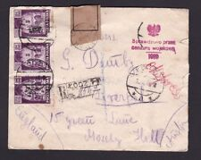 Poland 1945 Registered Express Airmail Cover Łódź to GB Censored in Liverpool